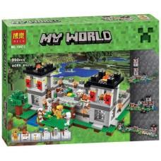 Конструктор  для мальчиков Крепость с фигурками: Стив, 3 скелета-лучника, 990 деталей - Bela Minecraft My World