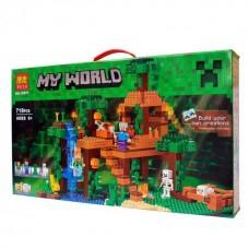 Конструктор для мальчиков Домик на дереве в джунглях, водопад, 6 фигурок, 718 деталей - Bela Minecraft My World
