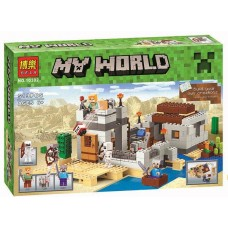 Конструктор для мальчиков Пустынная станция: хижина с башней, фигурки, 519 деталей - Bela Minecraft My World