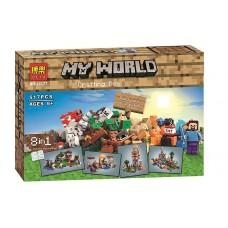 Конструктор для мальчиков Верстак - 8 вариантов построек из 517 деталей, фигурки героев - Bela Minecraft My World