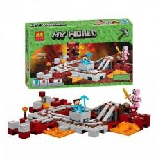 Конструктор для мальчиков Подземная железная дорога: вагончик, 4 фигурки, 399 деталей - Bela Minecraft My World