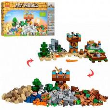 Конструктор для мальчиков Верстак-2.0: 5 игровых зон из 723 деталей, фигурки героев - Bela Minecraft My World