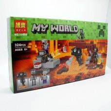 Конструктор  для мальчиков Иссушитель: фигурки, 2 скелета, снаряды, оружие, 324 детали - Bela Minecraft My World