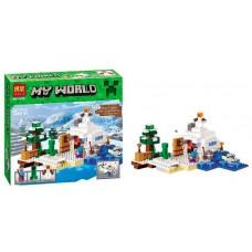 Конструктор для мальчиков Снежное убежище: игровая локация, 3 фигурки, 327 деталей - Bela Minecraft My World