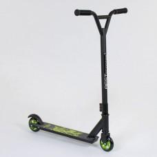 Детский Самокат трюковой для детей Best Scooter, руль 84 см, макс нагрузка 80 кг, ЧЕРНО-ЗЕЛЕНЫЙ арт. 73049