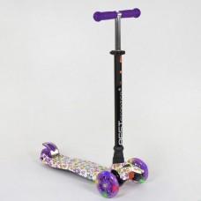 Детский Самокат Scooter Best Maxi АБСТРАКЦИЯ, ножной тормоз, светящ. колеса, руль 67-90 см, арт. 1326 (25528)