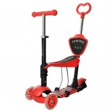 Детский самокат - беговел с родительской ручкой, светящими колесами, сиденьем, ITrike, красный арт. 3-026-K