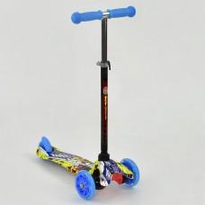 Детский трехколесный самокат для детей от 2 лет, + свет колеса, Best Scooter, до 50 кг голубой арт. 1292