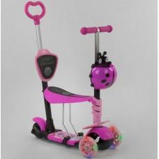 Детский Самокат - беговел для детей 5в1 Best Scooter с родительской ручкой, руль 63-72 см, подножками арт. 35343