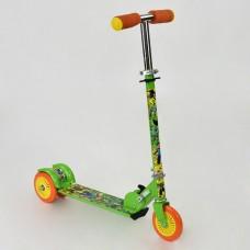 """Детский Самокат 3-х колесный, складной, с регулировкой руля """"Майнкрафт"""", ножной тормоз, зеленый арт. 466-363"""