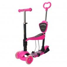 Детский самокат - беговел с родительской ручкой, светящими колесами, сиденьем ITrike Maxi, розовый арт. 3-026-K