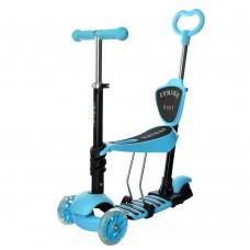 Самокат - беговел 3 в 1 с родительской ручкой и светящимися передними колесами (Maxi), голубой цвет арт. 3-026-K