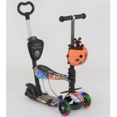 Детский Самокат беговел для детей 5 в 1 Best Scooter с родительской ручкой 75-85 см и подножками арт. 15600