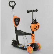 Детский Самокат - беговел для детей 5в1 Best Scooter с родительской ручкой, руль 63-72 см, подножками арт. 78266