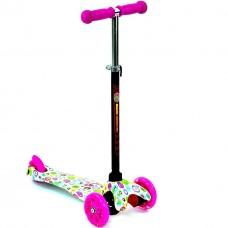 Детский Самокат для детей от 2х лет, 3х колесный, руль 55-65 см, свет. колеса, Best Scooter розовый арт. 1204