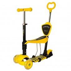 Детский самокат - беговел с родительской ручкой, светящими колесами, съемным сиденьем ITrike желтый арт. 3-026-K
