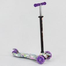 Детский Самокат для детей от 2х лет, 3-х колесный, свет. колеса, руль 63-86 см ABEC-7, Best Scooter арт. 1333