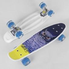 Детский Скейт Пенни борд Penny board со светящимися колесами, колеса PU, ABEC-7, до 80кг черный-сова 55х14см