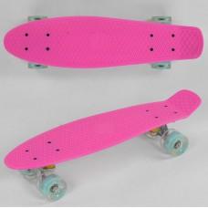 Детский Скейт Пенни борд Penny board со светящимися колесами из PU, ABEC-7, вес до 70кг, розовый 55х14.5см