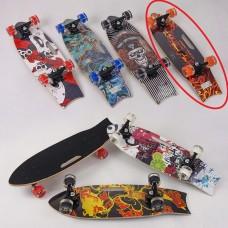 *Скейт деревянный со светящимися колесами, подшипники АВЕС9, цвет ОГОНЬ, дл. 70 см, нагрузка 100 кг арт. 32026