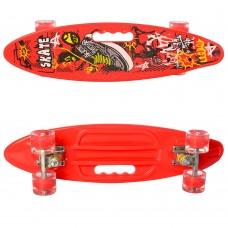 Детский Скейт Пенни борд Penny board со светящимися колесами, колеса PU, до 70 кг, ABEC-7 красный 59х16см