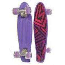 Детский Скейт (пенни борд) Penny board со светящ. колесами 56х14.5 см до 70 кг ФИОЛЕТОВЫЙ АБСТРАКЦИЯ арт. 0749