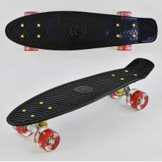 Детский скейт Penny board со светящимися колесами, черного цвета, размер 55-14,5 см, нагрузка 70 кг арт. 0990