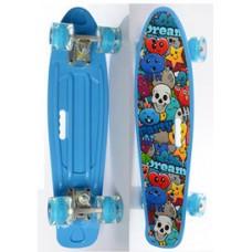 Детский Скейт Пенни борд Penny board со светящимися колесами, колеса PU, до 70 кг, ABEC-7 голубой 55х14.5см