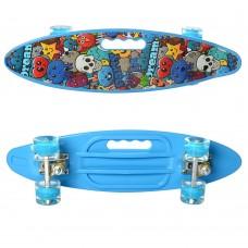 Детский Скейт Пенни борд Penny board со светящимися колесами, колеса PU, до 70 кг, ABEC-7 голубой 59х16см