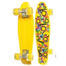 Детский Скейт (пенни борд) Penny board со светящимися колесами, 56х14.5 см, до 70 кг, ЖЕЛТАЯ АБСТР. арт. 0749