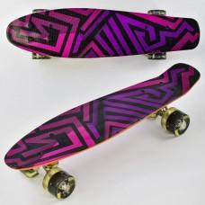 Детский скейт (пенни борд) Penny board  со светящимися колесами, АБСТРАКЦИЯ, размер 55-14,5 см, 70 кг арт. 5490