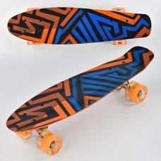 Детский скейт (пенни борд) Penny board  со светящимися колесами, АБСТРАКЦИЯ, размер 55-14,5 см, 70 кг арт. 7620