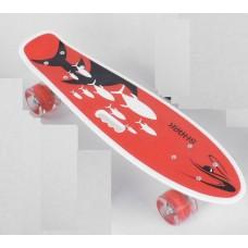 Детский Скейт Пенни борд Penny board со светящимися колесами, колеса PU, ABEC-7, до 60кг красный-акулы 55х15см
