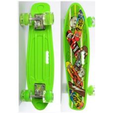 Детский Скейт (пенни борд) Penny board со светящимися колесами, 55х14.5 см, до 70 кг, САЛАТОВЫЙ арт. 0749-6