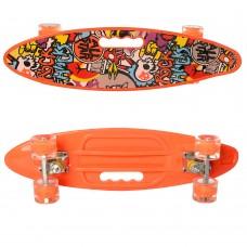 Детский Скейт Пенни борд Penny board со светящимися колесами, колеса PU, до 70 кг, ABEC-7 оранжевый 59х16см