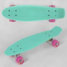 Детский Скейт Пенни борд Penny board со светящимися колесами из PU, ABEC-7, вес до 70кг, бирюзовый 55х14.5см