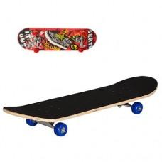 Детский деревянный скейт подшипники 608 Z, размер 78х20 см, нагрузка 40 кг,  Кед, красные колеса арт. 0322-2