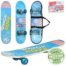 """Детский деревянный скейт рисунок """"Фиксики"""" с цветными колесами, подшипники ABEC-5, размер 60-15-8 см арт. 0006"""