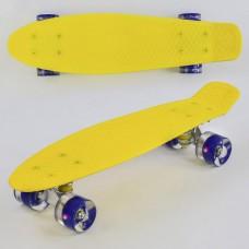 Детский Скейт Пенни борд Penny board со светящимися колесами из PU, ABEC-7, вес до 70кг, желтый 55х14.5см