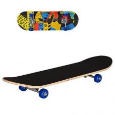 Детский деревянный скейт (Tracks синие колеса), подшипники 608Z, размер 78-20 см, нагрузка 40 кг, арт. 0322-2