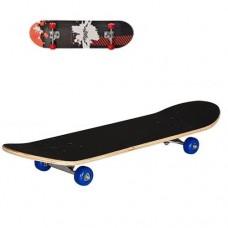 Детский деревянный скейт, подшипники 608 Z, размер 78х20 см, нагрузка 40 кг, черно-белый, цветные колеса арт. 0322-2