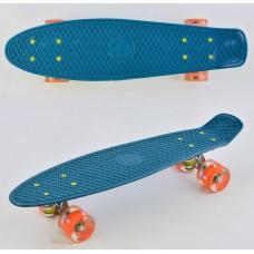 Детский скейт Penny board со светящимися колесами, синего цвета, размер 55-14,5 см, нагрузка 70 кг арт. 3030