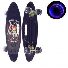 Детский скейт (борд) со светящимися колесами, ФИОЛЕТОВЫЙ АБСТРАКЦИЯ, размер 60-16 см, нагрузка 70 кг арт. 0461