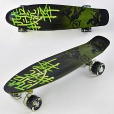 Детский скейт (пенни борд) Penny board  со светящимися колесами, АБСТРАКЦИЯ, размер 55-14,5 см, 70 кг арт. 9160