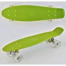 Детский Скейт Пенни борд Penny board салатовый с белыми светящимися колесами из PU, ABEC-7, до 70кг, 55х14.5см