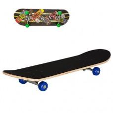Детский деревянный скейт, подшипники 608 Z, размер 78х20 см, нагрузка 40 кг Скейты, зеленые колеса арт. 0322-2