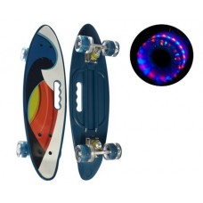 Скейт (пенни борд) Penny со светящимися колесами и подшипниками, синяя абстракция, нагрузка 70 кг арт. 0461