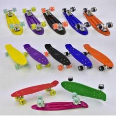 Детский Скейт (пенни борд) Penny board со светящимися колесами, 55х14.5 см, до 70 кг, ЖЕЛТЫЙ арт. 76761