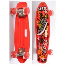 Детский Скейт (пенни борд) Penny board со светящимися колесами, 55х14.5 см, до 70 кг КРАСНЫЙ арт. 0749-6