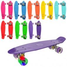 Детский Скейт Пенни борд Penny board со светящимися колесами, колеса PU, ABEC-7, до 70 кг голубой 56х14см